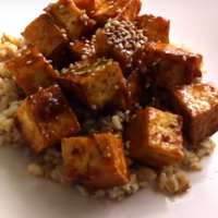 Crispy Sticky Spicy Sweet Tofu
