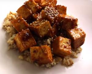 Crispy Sticky Spicy Sweet Tofu