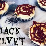 Black Velvet Cupcakes with Chocolate Webs